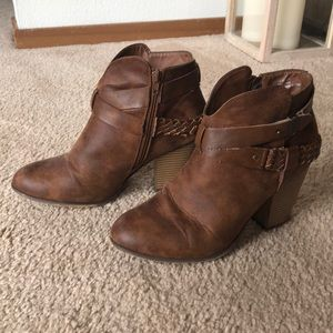 Brown side-zip booties